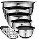 Mixing Bowls Set of 5, Wildone Stainless Steel Nesting Bowls with Airtight Lids, 3 Grater...