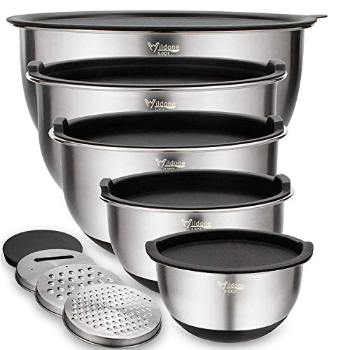 Mixing Bowls Set of 5, Wildone Stainless Steel Nesting Bowls with Airtight Lids, 3 Grater Attachments, Measurement Marks & Non-Slip Bottoms, Size 5, 3, 2, 1.5, 0.63 QT, Great for Mixing & Serving
