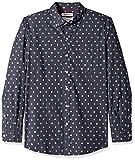 Marca Amazon – Goodthreads – Camisa estampada de manga larga de popelina y corte estándar para hombre, Azul (navy heather leaf print), US XS (EU XS)