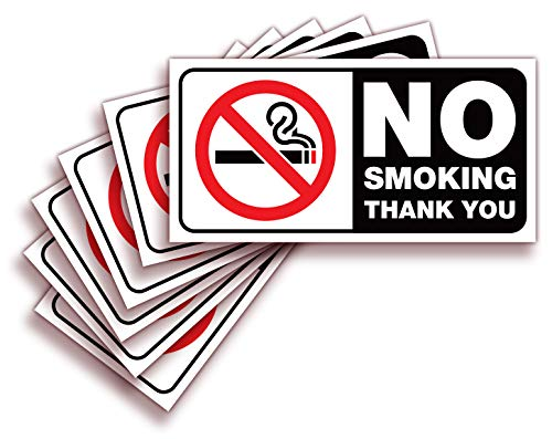 No Smoking Sign Sticker for House, Home & Business – 6 Pack 4x2 inch – Premium Self-Adhesive Vinyl, Laminated for Ultimate UV, Weather, Scratch, Water and Fade Resistance, Indoor & Outdoor