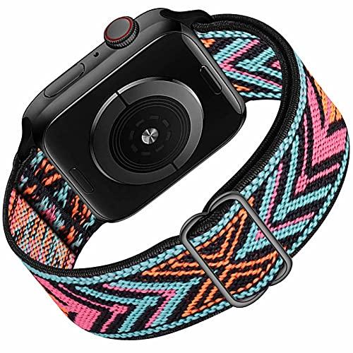 HILIMNY Solo Loop Compatible con Apple Watch Correa 38mm 40mm, Deportivas de Nailon Elástico Trenzado Para Correas de Repuesto Compatible con iWatch SE Series 6 5 4 3 2 1, Pink Blue Arrow 38mm 40mm