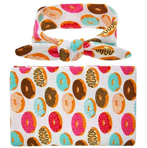 Ranvi conjunto de valor de la manta y diadema de bebé recién nacido, recibir mantas, donut
