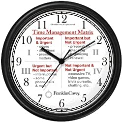 Habit 3 - Time Management Matrix or Quadrants (English Text) - Wall Clock from THE 7 HABITS - CLOCK COLLECTION by WatchBuddy Timepieces (Hunter Green Frame)
