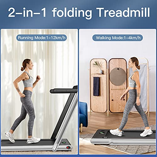 COSTWAY 2 in 1 Folding Treadmill, Under Desk Motorized Treadmill with Remote Control, Bluetooth Speaker and LED Display, Installation-Free Jogging Walking Machine Speed up to 12km/h (Silver)