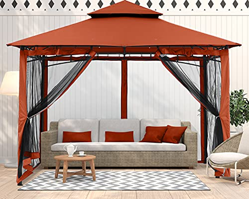 ABCCANOPY 10x10 Patio Gazebo for Patio Double Roof Soft Canopy with Netting Garden Backyard Gazebo for Shade and Rain, Rust Red