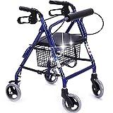 Caminador Plegable de Aluminio Carretilla de 4 Ruedas con Frenos y Bolsa de almacenaje Carrito de la Compra Antiguo Ajustable en Altura Caminador de Viaje para Adultos Banco de caña empujable
