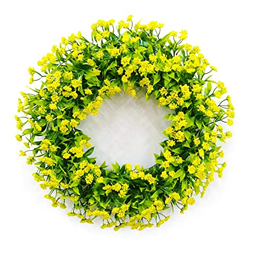 KELITINAus Gypsophila Artificial Wreath,Door Wreath Artificial Hanging Gypsophila Wreath Artificial Gypsophila Garland for Front Door,Yellow