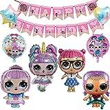 LOL Surprise Globos, LOL Cumpleaños Decoración, Muñeca Globos De Aluminio, Con Pancarta de Feliz Cumpleaños, Para Cumpleaños, Decoracion Para Fiestas Temáticas, 9 Piezas