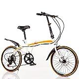COKECO Bicicleta Plegable para Adultos,Freno De Doble Disco De 20 Pulgadas, Llanta De Aleación Todo En Uno De 7 Velocidades, Llanta Resistente A Las Puñaladas De 150 Kg