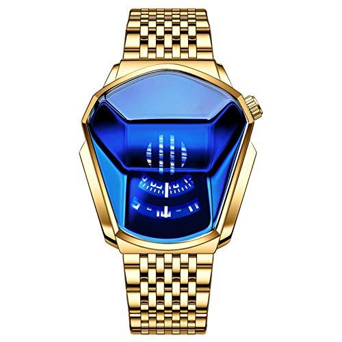lefeindgdi Reloj de hombre, a la moda, resistente al agua, con diamantes de tipo completo, esfera grande, de cuarzo, para hombres y mujeres