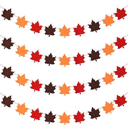4 Piezas Banderas Guirnalda de Fieltro de Hojas de Arce de Acción de Gracias para Decoración de Acción de Gracias Decoración de Otoño Suministros de Fiesta de Acción de Gracias
