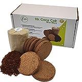 E-potes 10 litros de coco en envases sin plástico | Medios de cultivo de fibra de coco orgánico 100% natural | Discos de suelo comprimido convenientes y fáciles de usar
