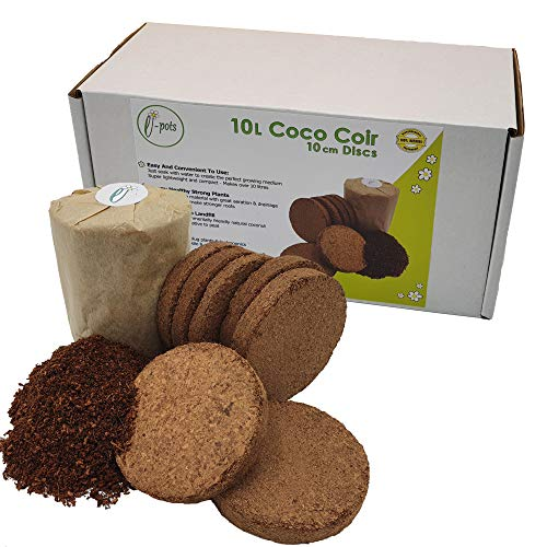 e-pots 10 litre coco coir in plastic free packaging | 100% natural organic coconut fibre growing media | Convenient and easy to use compressed soil discs