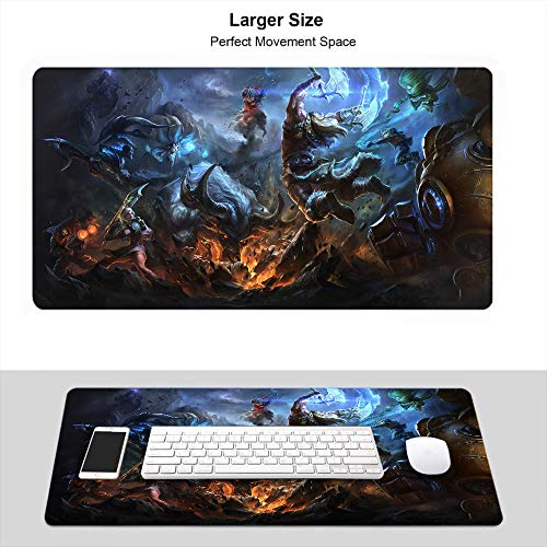 Large Gaming Mouse Pad, Thick Large (29.5×15.7 Inch) for League Legends Gamer Mouse Pad Premium-Textured Fashion Creative, Summoner Rift Battle Riven Ahri Olaf Blitzcrank Ezreal