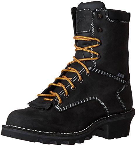 """Danner Men's Logger 8"""" Work Boot, Black, 9.5 D US"""