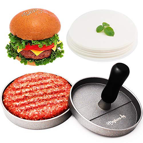Meykers Burger Press 100 Patty Papers Set - Non-Stick Hamburger Press Patty Maker Mold