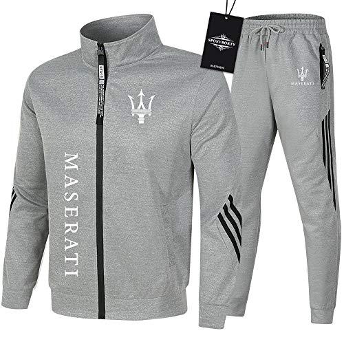SPONYBORTY de Los Hombres Chandal Conjunto Trotar Traje Ma-sera-ti Hooded Zipper Chaqueta + Pantalones Sudadera Baloncesto Ropa Colocar/gray/XXXL