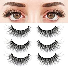 BEPHOLAN 3 Pairs False Eyelashes Synthetic Fiber Material| 3D Mink Lashes| Cat Eyes Look| Reusable| 100% Handmade & Cruelty-Free| XMZ24