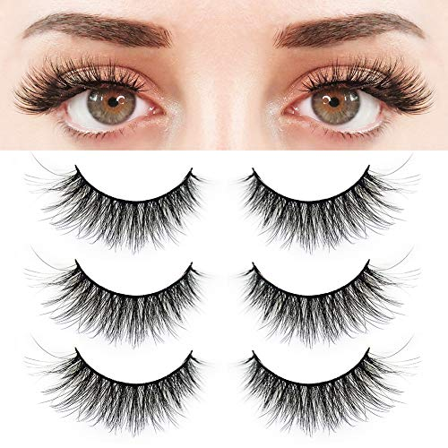 BEPHOLAN 3 Pairs False Eyelashes, Prefect 3D Effect Faux Mink Lashes, Synthetic Fiber Material Strip Fake Eyelashes, Natural Look Lashes, Reusable,100% Handmade ,XMZ24