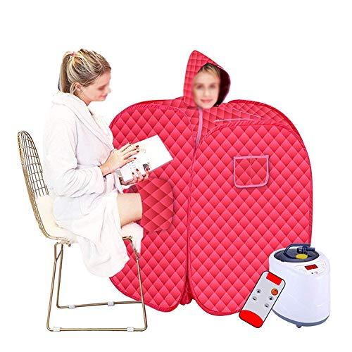 HIXGB draagbare mobiele stoomsauna, huishoudopvouwbare detox, fumigations, badklok, gewichtsverlies, dubbele sauna tent, 0-99 minuten timer, 1-9 temperatuuraanpassing, 80 * 100 cm / 31.50 * 39.37 in,rood