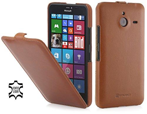 StilGut UltraSlim Hülle, Hülle aus Leder für Microsoft Lumia 640 XL, Cognac