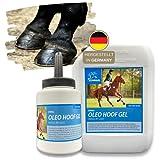 Tanica per huffett + olio di zoccoli con pennello, set per la cura degli zoccoli, gel sano, zoccoli secchi e screpolati, balsamo per cavalli, accessori per cavalli, cura per cavalli, 500 + 2500 ml