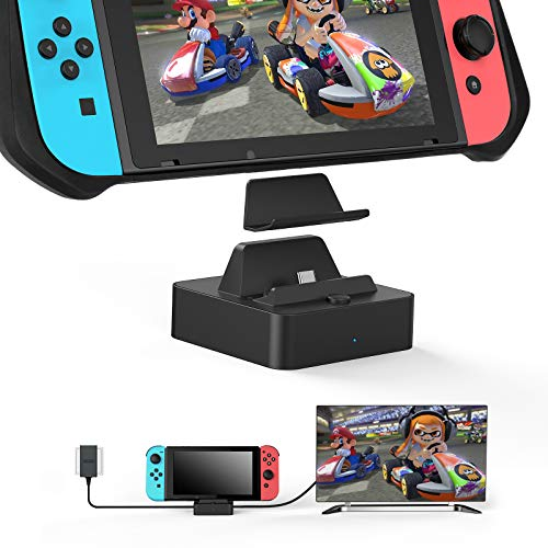 Vivefox Switch TV Dock(Case Friendly), Aluminum Portable Switch Docking Station HDMI TV Adapter Switch Charging Dock Replacement Compatible with Nintendo Switch Charge and Play Kit