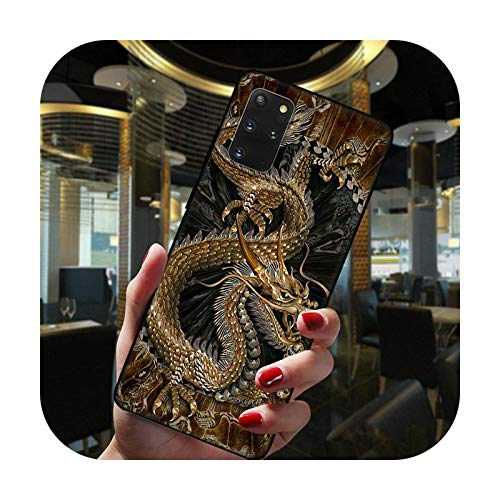 Hopereo Moda china vintage dragón negro teléfono caso para Samsung Galaxy S20 Fe Ultra S10 Lite S9 S8 Plus S7 Edge S10E silicona cubierta -Btpu-C3792-S20