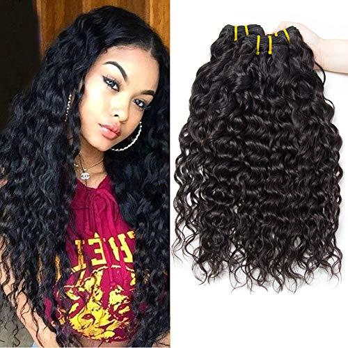 PF Hair 9A Brasilianische Wasserwelle Menschliche Haare 3 Bündel 8 10 12 Zoll 300g Brazilian Water Wave Virgin Human Hair Weave Bundles Brazilian Hair Bundles Natürliche Schwarze Farbe