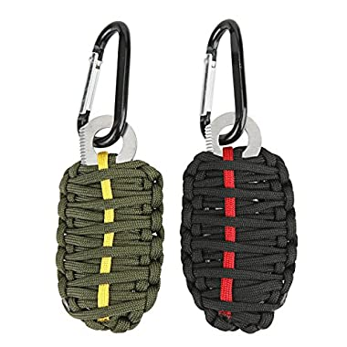 Technano Compact Survival Kit - Paracord GRENADE Emergency Key Chain -14pcs Including Fire Starter and Eye Knife (2 pack) (Black/Green)