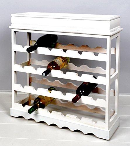 Weinregal Weiß für 24 Flaschen Flaschenregal weißes Holz - 10