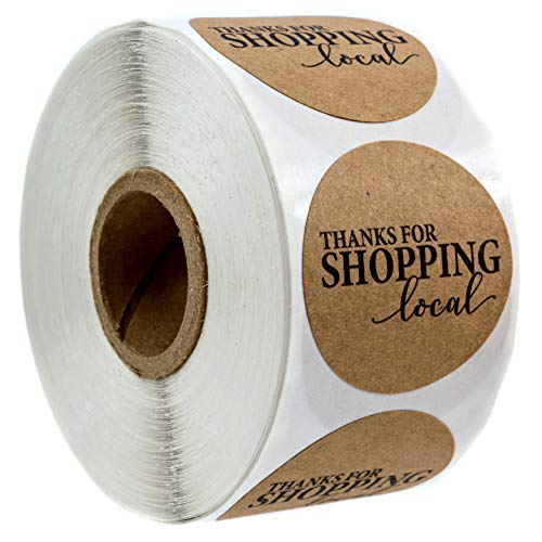 """1.5"""" Round Kraft Thanks for Shopping Local Stickers / 500 Labels Per Roll"""