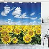 ABAKUHAUS Sonnenblume Duschvorhang, Frisches Feld Land, mit 12 Ringe Set Wasserdicht Stielvoll Modern Farbfest & Schimmel Resistent, 175x180 cm, Gelb Grün Blau