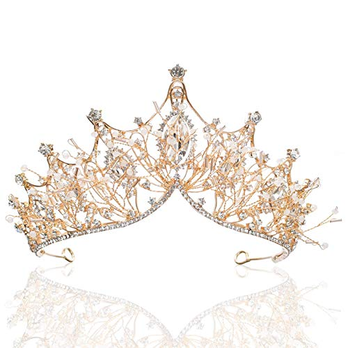 Wohlstand Corona de Tiara de Cristal,Tiara de Boda Novia Tiara de Princesa del Diamante Fiesta Boda Nupcial Tiara Corona, para Mujeres Niñas Desfile Nupcial Boda Baile Fiesta de Cumpleaños