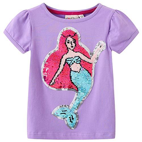 Glitter Flip Sequin Girl's T-Shirt Top Short/Long Sleeve, Fleece Jacket, Leggings 3-14 Years (5, Mermaid 1)