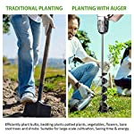 """SETROVIC Garden Spiral Hole Drill Planter 1.6""""x18"""" & 4""""x12"""" Garden Auger Bulb Planter Tool Rapid Planter Garden Drill Planter Hole Digger for 3/8"""" Hex Driver Drill 2-in-1 Set 11 【2-in-1 Set】1.6""""x18"""" & 4""""x12"""" bulb planter suitable for various planting requirements. Thickened and elongated drill enables easier drilling and thickened link rod is more durable and resistant, quickly digs holes up using the power of your hand held drill. 【High Quality Products】 Made of heavy duty steel, with premium glossy painted finish. The auger drill bit point on it hits the ground first and keeps it steady when you are digging hard grounds. The rod is connected with the shaft, it's difficult to break.This auger drill bit is suitable for most 3/8"""" hex drive drill. 【Efficient Planting】Our bedding plants drill bit will make hundreds of holes in few minutes, makes hole digging easier, it will save your time & save your back. The long size drill bit allows you to stand and dig. It can save much effort for you in massive digging."""
