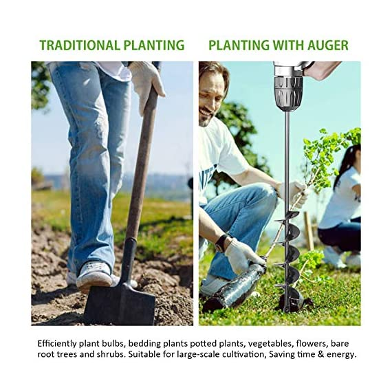 """SETROVIC Garden Spiral Hole Drill Planter 1.6""""x18"""" & 4""""x12"""" Garden Auger Bulb Planter Tool Rapid Planter Garden Drill Planter Hole Digger for 3/8"""" Hex Driver Drill 2-in-1 Set 2 【2-in-1 Set】1.6""""x18"""" & 4""""x12"""" bulb planter suitable for various planting requirements. Thickened and elongated drill enables easier drilling and thickened link rod is more durable and resistant, quickly digs holes up using the power of your hand held drill. 【High Quality Products】 Made of heavy duty steel, with premium glossy painted finish. The auger drill bit point on it hits the ground first and keeps it steady when you are digging hard grounds. The rod is connected with the shaft, it's difficult to break.This auger drill bit is suitable for most 3/8"""" hex drive drill. 【Efficient Planting】Our bedding plants drill bit will make hundreds of holes in few minutes, makes hole digging easier, it will save your time & save your back. The long size drill bit allows you to stand and dig. It can save much effort for you in massive digging."""