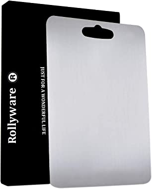 Rollyware EURO STYLE Stainless Steel Chopping Board, 304 Grade Antibacterial Vegetable Cutting Board for Kitchen, Multipurpos