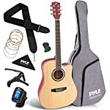 "Beginner 41"" Cutaway Acoustic Guitar - Standard Full Size 6 String Dreadnought Natural Matte Finish w/ Gig Bag, Tuner, Steel Strings, Picks, Strap, Capo, For Beginners/Adults - Pyle PGA480NT"