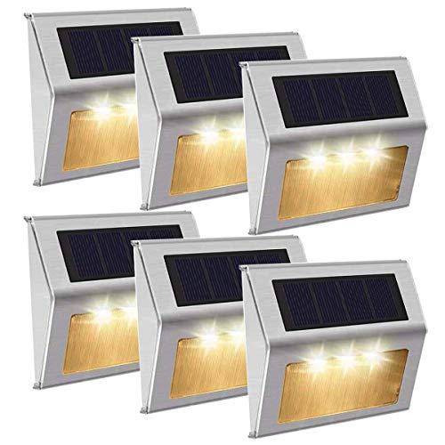 [Luz Cálido]Luces Solares 3 LED Exterior Jardin,Impermeable Acero Inoxidable Lámparas Solares para Escaleras,Camino,Patio,Pared y Jardín(paquete de 6)