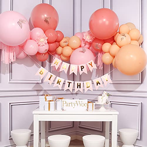 PartyWoo Pink Balloons, 73 pcs Birthday Decorations for Girls, Peach Balloons, Birthday Banners, Hanging Swirl, Pink Party Decorations, 21 Birthday Decorations for Her, Happy Birthday Decorations