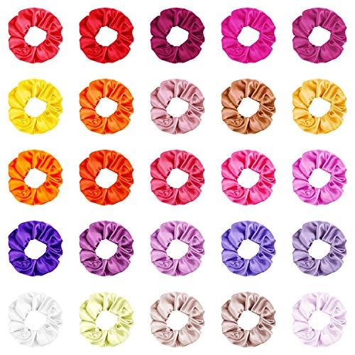 Chouchous Cheveux 25 Pièces Satin Multicolore Élastique Cheveux Bandes Queue de Cheval Holder Pour Femmes Filles