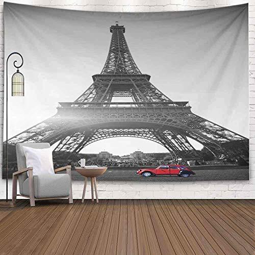 Tapiz de pared, tapiz lindo tapiz colorido tapiz divertido verano puesta de sol vintage rojo coche Stands De Mars Torre Eiffel tapiz de arte de pared blanco y negro tapices grandes para dormitorio