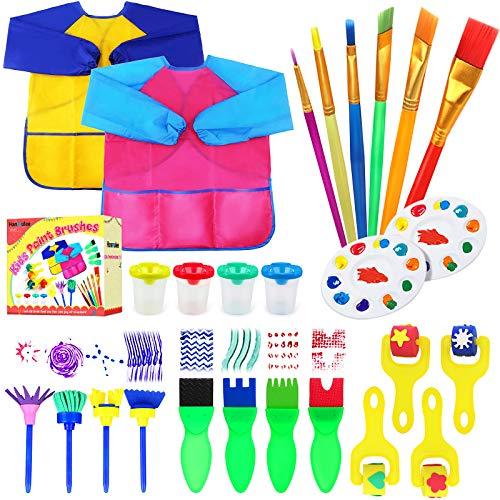 Hanmulee Kids Paint Brushes Schwamm Kits, 26 Stück Malpinsel Zeichenwerkzeuge Kits, Kinder Early DIY Learning Paint Sets für Kinder Kunsthandwerk für Kleinkinder