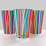 Paricott 300ml Multi Stripe Printed Disposable Paper Cup (Pack of 100 Cups)