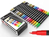 TOOLI-ART 18 Acrylic Paint Pens Assorted Markers Set 0.7mm Extra Fine Tip