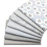 7 piezas de tela de acolchado de los cuartos gruesos grises, tela de costura de algodón con estampado floral superior 46x56cm para acolchar, 18'x 22'