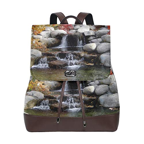 Ahomy Damen Anti-Diebstahl-Rucksack Geldbörse Natural Forest Rock Wasserfall PU Leder Reißverschluss Rucksack Mode Casual Schultertasche
