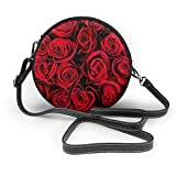 BAODANLA Bolso redondo mujer Shoulder Bags Women Round Bags Natural Red Roses Background Crossbody Leather Circle Bag
