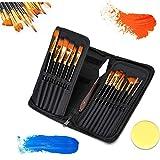 Jsdoin Juego de 15 pinceles de pintura – 15 diferentes formas y tamaños – cuchillo de pintura y esponja de acuarela, mangos de mader